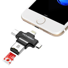 Moweek 4 in 1 Card Reader Type-c/Lightning/Micro USB/USB 2.0 Multi-Function All in 1 Micro SD for iPhone 5/5s/6/6 plus/6s(China)