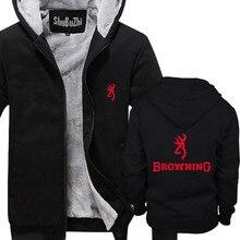 Browning Firearms Logo Graphic Printed shubuzhi men fleece jacket coat sweatshirt casual hoodies Winter padded zipper hoody
