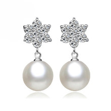 Crystal From Swarovski Pearl Stud Earrings Prevent Allergy Snowflake Plated Silver Earring Christmas Gift For Women Jewelry