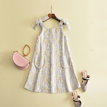 New arrival 2017 fashion brand women jacquard dress cute bow sleeveless loose style colorful dresses(China)
