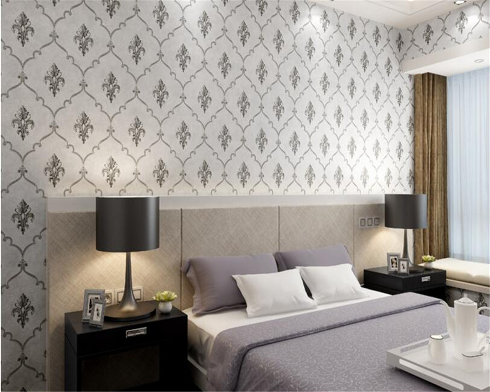 Beibehang Silver gray. Sky blue. Luxury yellow. Wallpaper roll bedroom living room TV background wall full of 3d wallpaper<br>
