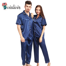 Vislivin Couples Pajamas Sets Men Women Short Sleeve Sleepwear Long Pants Sleepwear Nightshirt Soft Faux Silk Satin Homewear(China)