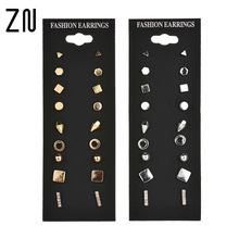 9 Pairs stud earrings sets Round square ball Simulated ear piercing women Beads Geometric Square Crystal Gem