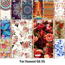 AKABEILA Painting Flower Mobile Phone Bags and Cases For Huawei Ascend G6 3G P6 Mini U00 U10 Case Hard PC Soft TPU Floral Cover