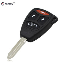 KEYYOU 4 Button Remote Key Fob Case Shell With Keychain For Chrysler 300 /Aspen /Jeep /Dodge