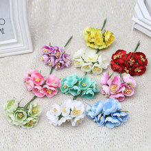 6pcs/lot Mini Silk Artificial Rose Flowers Bouquet Wedding Decoration  Flower For DIY Scrapbooking Handmade Flower Ball
