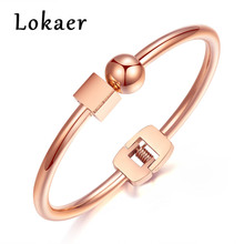 Lokaer Ball & Cube Design Stainless Steel Bangle Bracelets For Women Gold Color Simple Open Bangle Fashion Cuff Bracelet Jewelry