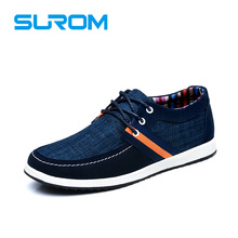 SUROM Brand Men's Shoes Fashion Patchwork Canvas and Denim Classic Boat Shoes Lace up Lacing system Stylish Boat shoes handcraft