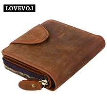 Crazy Horse Leather Wallets Men Vintage Brown Solid Short Design Zipper Hasp Men Purse crazy horse quality  Men's Wallet  010A1