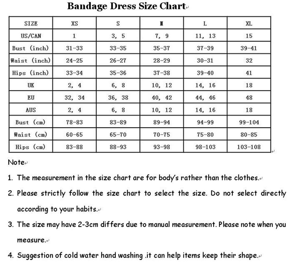 bandage dress size chart 201811
