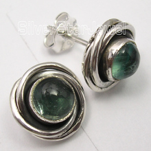 Chanti International Pure Silver Rare GREEN APATITE WELL MADE SPIRAL KNOT Studs Earrings 1.1 CM(China)