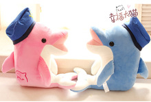Candice guo plush toy stuffed doll cartoon navy hat kiss cute dolphin couple sea animal children birthday gift christmas present(China)