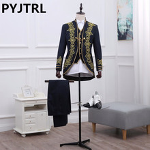 PYJTRL Brand Mens Three-piece Vintage Palace Black Phnom Embroidered Suits Opera Stage Latest Coat Pant Designs Terno Masculino