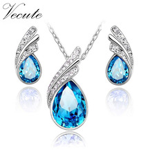 Fashion Silver Color Austrian Crystal Jewelry Sets for Women With Necklace Earrings Conjuntos de Joyeria Wedding Jewelry Sets
