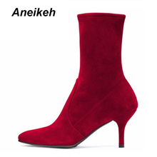 Aneikeh 2018 Spring & Autumn Winter Black Red Ankle Boots Thin High Heels 7.5cm Fashion Shoes For Woman Stretch Boots Size 4 - 8(China)