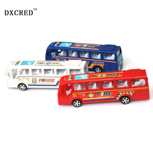alloy model bus metal diecasts toy vehicles pull back & flashing & musical high simulation tourist bus New Year Gift(China)