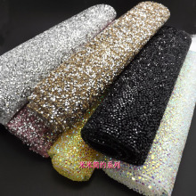 rhinestone trimming,1 sheet/lot,24*40cm,DIY shinning gemstone banding hot fix band garment accessories blue ab pink gold band(China)