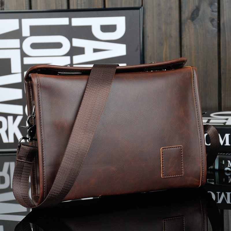 Mens Crazy Horse Leather Satchels Shoulder Bags Crossbody Bag Vintage iPad Business OL Briefcase Male Bags bolsas male<br>