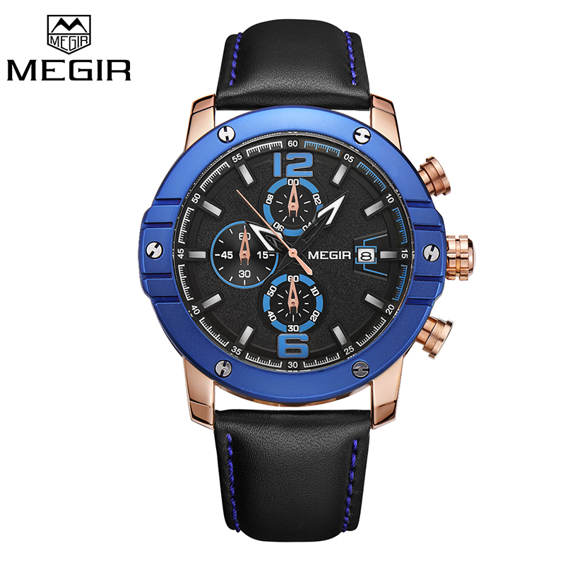 Luxury Brand MEGIR Leather Band Military Chronograph Quartz Watch Sports Wrist watches Men Blue Dial Clock Man relogio masculino<br>
