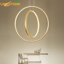 Led Gold Chandelier Lighting Lustre Ring Hanging Lamp Modern Chandeliers Ceiling Restaurant Bar Cafe Indoor Decoration Fixture(China)