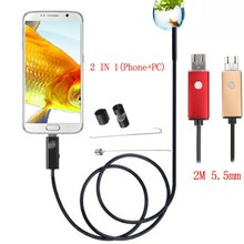 2 In 1 2M 5.5mm 6 LED USB Endoscope Inspection Camera Waterproof For Phone PC Android Borescope Camera