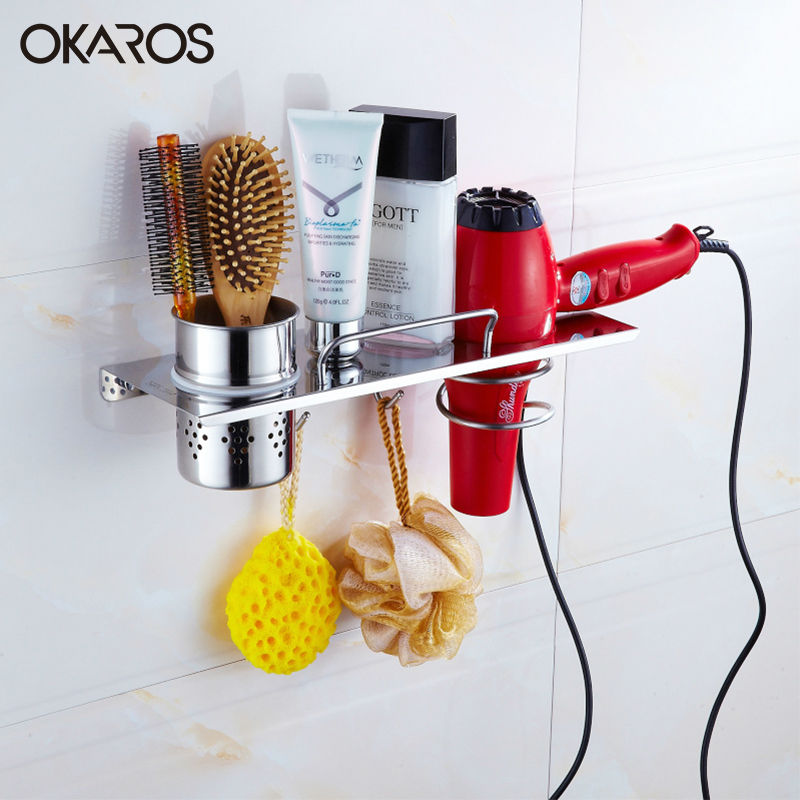 Free Shipping Stainless Steel Bathroom Shelf Hair Dryer Rack Holder Toothpaste Toothbrush Comb Storage Shelf  With Hooks Chrome<br><br>Aliexpress