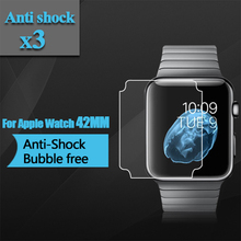 Premium TPU Anti-Shock Screen Protector 38mm 42mm Full Screen Coverage Clear Screen Film for Apple Watch 2 42mm 3pcs(China)