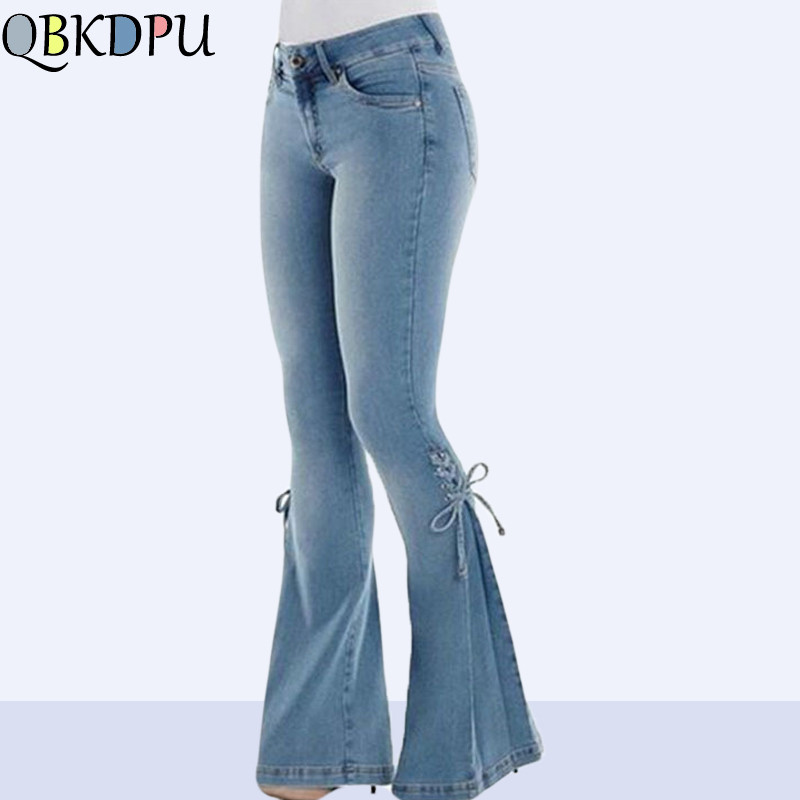 YP-fashion Slim Fit Mid Waist Flare Jeans Plus Size Stretch Skinny Bell-Bottom Pants
