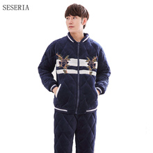 SESERIA Winter Men Flannel Warm Pajamas Sets Long Sleeve Tops & Trousers Pajamas Sets Male Thermal Home Clothing(China)
