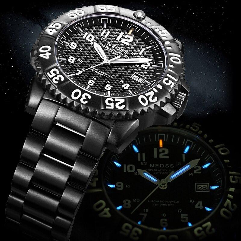Luxury brand NEDSS Mens watches Tritium miyota automatic Mechanical watch sapphire 100m Army Military clocks Mechanische Uhren