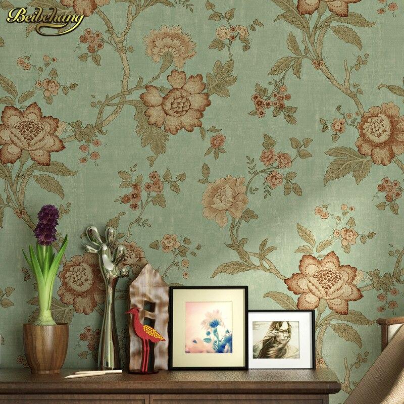 beibehang American Village Retro Retro Pastoral Big Flower Oil Painting Wallpaper Bedroom Living Room Sofa Background Wallpaper<br>