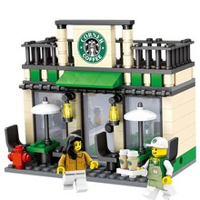 City Series Mini Street Model Store Shop with Apple Store McDonald`s Building Block Toys Compatible with Legoe Hsanhe