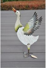 Free shipping,49*27cm,Garden decoration, moving gifts,color duck ornaments. Painted wooden+iron,villa gift.Balcony decoration