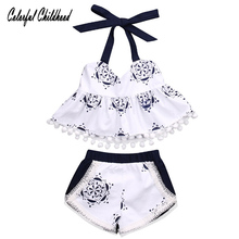 Summer Style Baby Swing Top Baby Girls Clothing Set Infant Flower tassel Outfits Newborn Girl Clothes Sets(China)