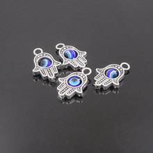 50pcs Hand Shape Evil Eye Charms For Jewelry Making 13*20mm Vintage Silver Plated Floating Charm Ciondoli Lotto Bedeltjes Diy(China)