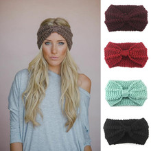 Solid Twist Wide Knitting Woolen Headband Winter Warm Ear Crochet Turban Hair Accessories For Women Girl Hair Band Headwraps 555(China)
