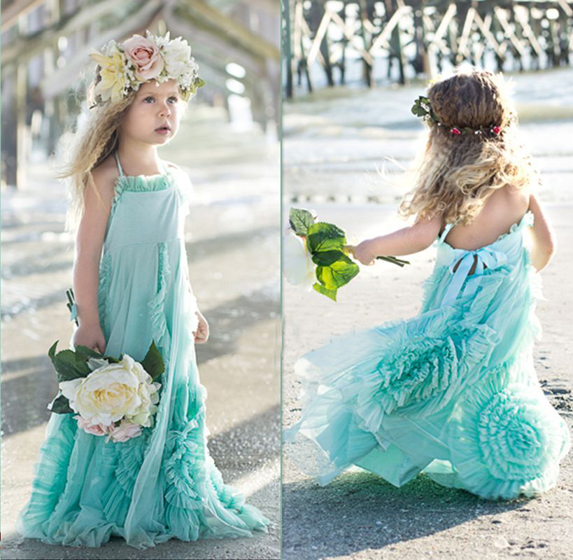 2016 Lovely Blue Flower Girl Dresses Custom Sleeveless Birthday Party Formal Gown<br><br>Aliexpress