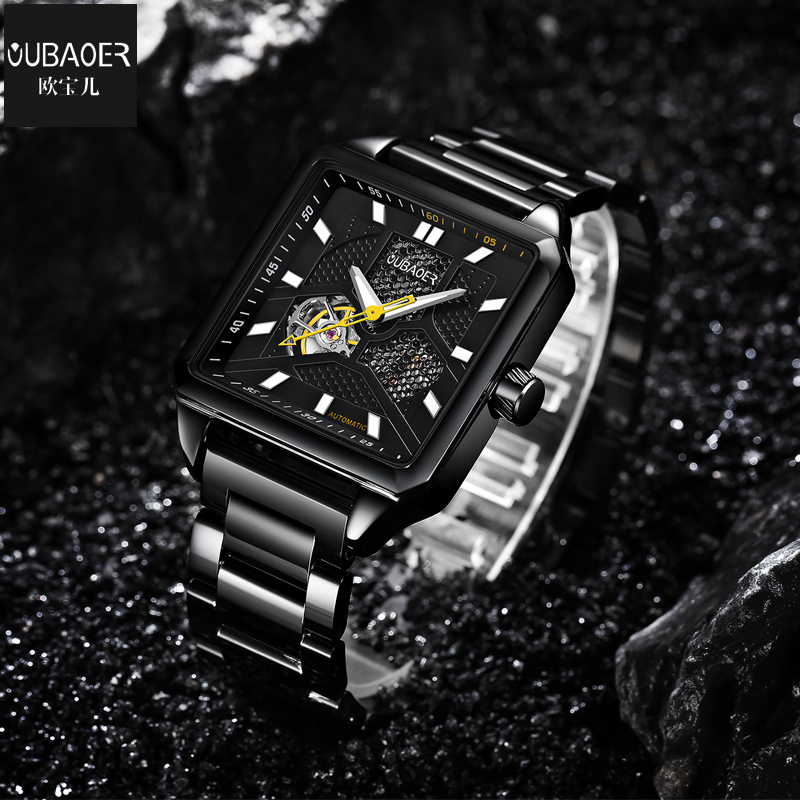 New Fashion Business Mens Mechanical Watch OUBAOER Round Dial Casual Stylish Wristwatch for Man relogio masculino de luxo<br>