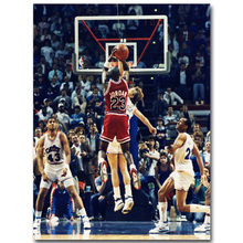 NICOLESHENTING Michael Jordan Jumps Last Shot Basketball Art Silk Fabric Poster Print Picture Room Wall Decoration 060