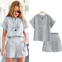 2017 Women Summer Style Casual Cotton Linen Top Shirt Feminine Pure Color Female Office Suit Set Women's Costumes Hot Short Sets(China)
