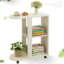 70x30x76CM Wood Bedside Table Modern Sofa Side Table Living Room Storage Cabinet With Wheels