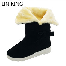 LIN KING Fashion Winter Women Shoes Warm Plush Wedges Shoes Bowtie Lolita Creepeers Ankle Boots Suede Leather Martin Boots