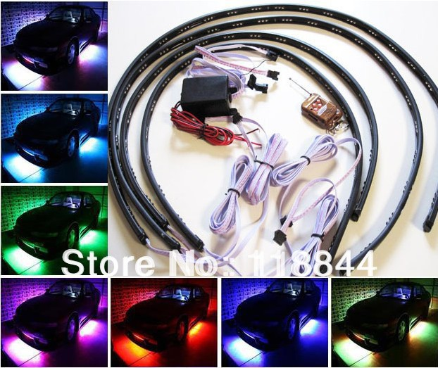 1set 36*2 &amp; 48*2 7 Colors Wireless Remote &amp; Music Activated RGB car LED Strip Car Decorative Underbody Neon Lights Kit<br>