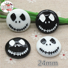 10pcs Resin halloween skull flat back Cabochon Art Supply Decoration Charm hair bow center 24mm(China)