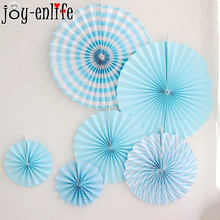 JOY-ENLIFE 6pcs/lot Flower Paper Fan Tissue Crafts Decoration Wedding Birthday Party Decoration Home Paper Fan