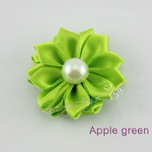 Free shipping satin layered flower with pearl for hair accessoris Baby Girls children apparel accessories mix color 100pcs/lot