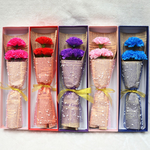 3 Head Carnation Soap Flower with Gift Box Birthday Teacher's Mothers' Day Romantic Wedding Valentine's Day Supply(China)