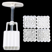 Mooncake Mold Cookie-Cutter Cake-Bakeware Rose-Flower 4-Stamps-Set 1-Barrel Diy-Tool