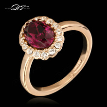 Purple Rhinestone Green Finger Rings Wholesale Rose Gold Color Crystal Fashion Brand Wedding Jewelry For Women anel DFR362