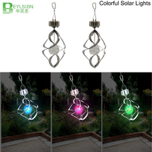 1X Solar Energy Fan Chimes Home Wind Turn Lights LED Chimes Colorful Decorative Lights Outdoor Solar Energy Crystal Light(China)